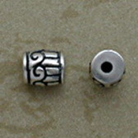 Barrel Shaped Sterling Silver Beads