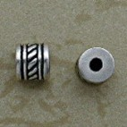 Sterling Diagonal Lines 6 mm Beads