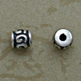 Sterling 4.5 mm Swirl Design Beads