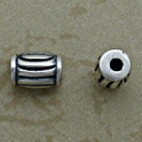 Silver Beads with Curved Vertical Design